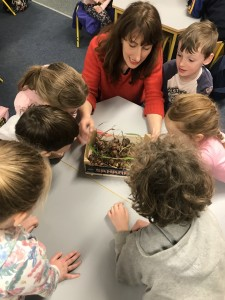 Clodagh with children and corms